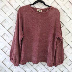 Listicle Blush Ballon Sleeve Sweater